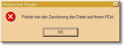 Fehler bei der Zerstörung der Datei auf Ihrem PDA...
