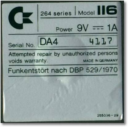 Commodore 116, Deutschland, Funkentstört nach DBP 529/1970