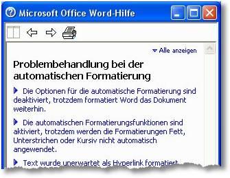 Microsoft Office Word Hilfe - Problembehandlung bei der automatischen Formatierung - Die Optionen für die automatische Formatierung sind deaktiviert, trotzdem formatiert Word das Dokument weiterhin - Die automatischen Formatierungsfunktionen sind aktiviert, trotzdem werden die Formatierungen Fett, Unterstrichen oder Kursiv nicht automatisch angewendet