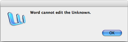 Word cannot edit the unknown