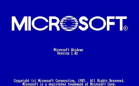 MICROSOFT - Microsoft Windows Version 1.01 - Copyright (c) Microsoft Corporation, 1985. All Rights Reserved. Microsoft is a registered trademark of Microsoft Corp.