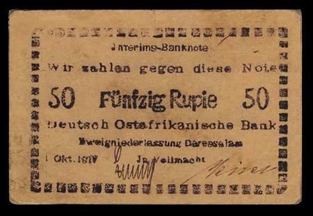 Jnterims-Banknote - Wir zahlen gegen diese Note Fünfzig Rupie - Deutsch Ostafrikanische Bank - 1. Oktober 1917