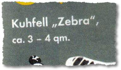 Kuhfell Zebra, ca 3 - 4 qm.