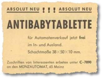 Absolut neu!!! Antibabytablette für Automatenverkauf jetzt frei im In- und Ausland.
