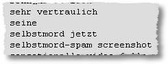 sehr vertraulich / seine / selbstmord jetzt / selbstmord-spam screenshot