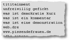tititainment - unfreiwillig gefickt - was ist demokratie kurz - was ist ein kommentar - was ist eine demonstration - web.dre - www.pissendefrauen.de