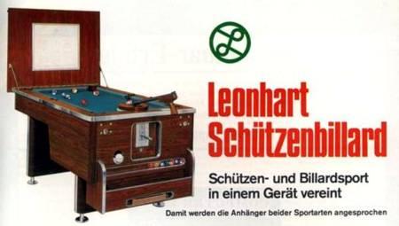 Leonhart Schützenbillard. Schützen- und Billardsport in einem Gerät vereint. Damit werden die Anhänger beider Sportarten angesprochen.