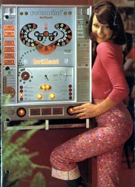 Werbung für Rotamint Brillant mit Schlampe in typischer Kleidung der 70er Jahre