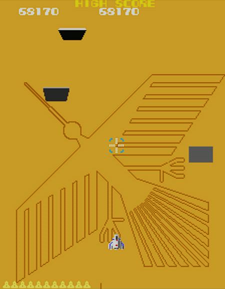 Screenshot Xevious, mit der Petroglyphe