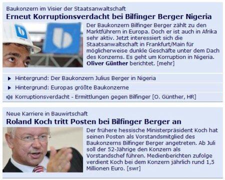 Zwei Meldungen: Erneut Korruptionsverdacht bei Bilfinger Berger Nigeria -- Roland Koch tritt Posten bei Bilfinger Berger an