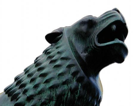 Ein Löwenkopf von der Löwenbastion am Maschsee zu Hannover