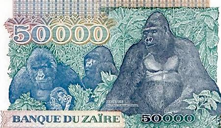 Banknote aus Zaire mit Gorillas als Motiv