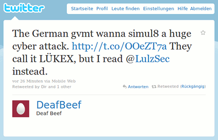 The German gvmt wanna simul8 a huge cyber attack. http://t.co/OOeZT7a The call it LÜKEX, but I read @LulzSec instead.