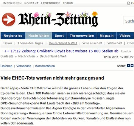 Viele EHEC-Tote werden nicht mehr ganz gesund