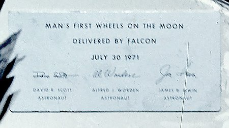Man's first wheels on the moon, delivered by Falcon. July, 30 1971 - David Scott Astronaut, Alfred Worden Astronaut, James Irwin Astronaut