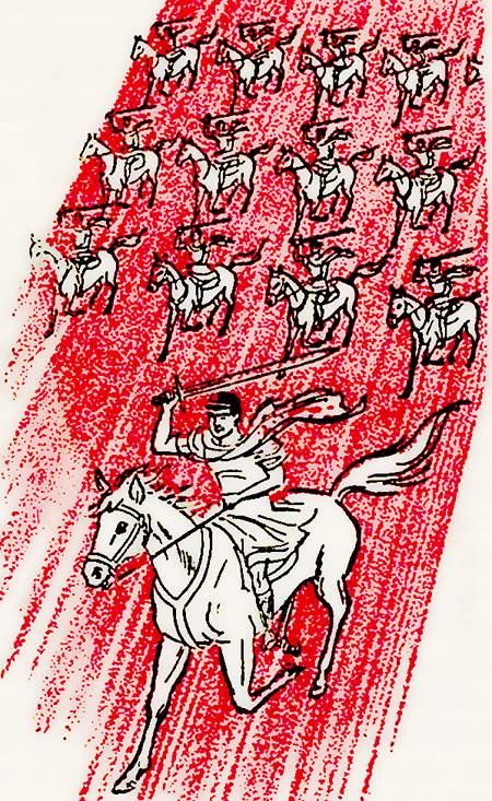 Eine Armee reitet mit gezückten Schwertern aus dem Himmel zu richten die Erde