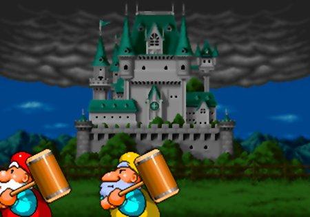 Hammerzwerge vor dem alten Schloss bei miesem Wetter