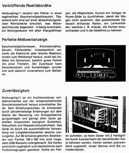 Werbetext für das Arcade-Spiel Nürburgring/1