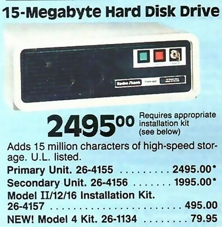 15 Megabyte Hard Disk Drive, 2495 Dollar