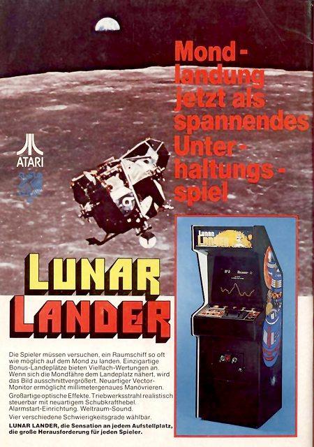 Werbung für das Arcade-Spiel Lunar Lander aus dem Jahr 1977