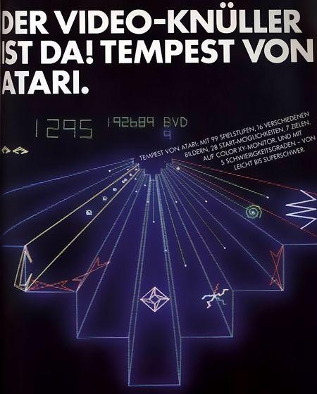 Der Video-Knüller ist da! Tempest von Atari. Tempest von Atari: Mit 99 Spielstufen, 16 verschiedenen Bildern, 28 Start-Möglichkeiten, 7 Zielen auf Color XY-Monitor. Und mit 5 Schwierigkeitsgraden - von leicht bis superschwer