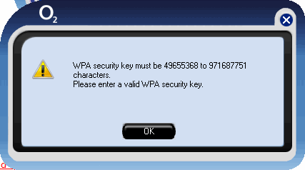 WPA security key must be 49655368 to 971687751 characters. Please enter a valid WPA security key