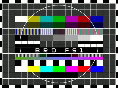Testbild des DDR-Fernsehens mit Texteinblendung: BRD FS1