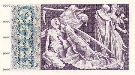 Rückseite einer Banknote über 1000 Schweizer Franken mit einer Darstellung des Totentanzes als Motiv