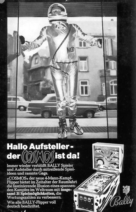 Werbung für den Bally-Flipper Cosmos aus dem Jahr 1969.
