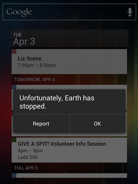 Unfortunately, Earth has stopped | Report | OK