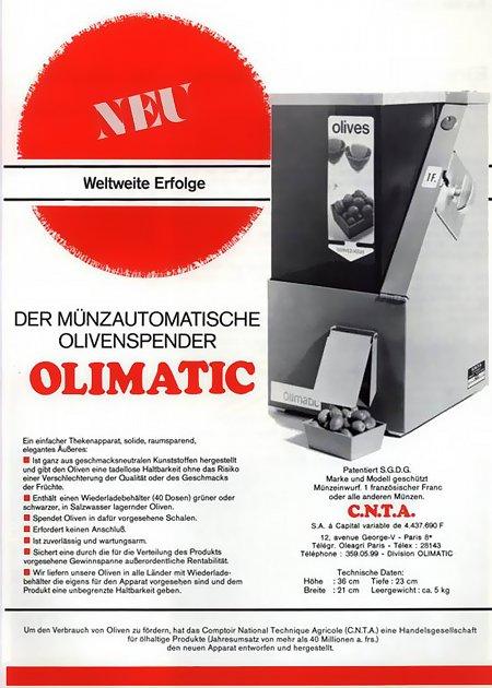 Werbung für einen Olivenspender aus den Siebziger Jahren: Der münzautomatische Olivenspender OLIMATIC