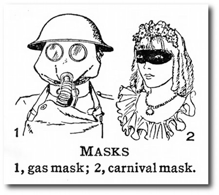 Masks -- 1, gas mask; 2, carnival mask