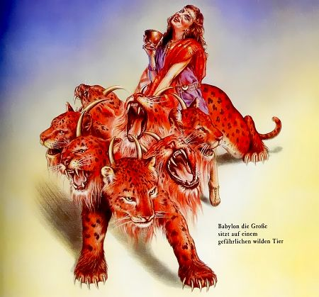 Babylon die Große sitzt auf einem gefährlichen wilden Tier