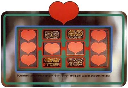Ablesemaske des Geldspielgerätes Quadromint Herz As von NSM mit einem Vollbild; acht Herzen auf vier Walzen