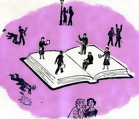 Eine Illustration aus einem Traktat von Gerechten, die in einer Welt von Mord, Hurerei, Klatsch und Elend auf einem Buche gehen