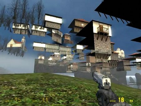 Bug in Half-Life 2, wenn es gelungen ist, die definierte Map zu verlassen und man lustige andere Blicke auf die Ortschaft an der Küste nehmen kann