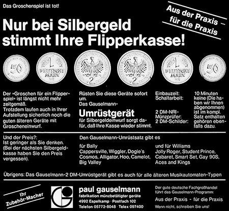 Das Groschenspiel ist tot: Nur bei Silbergeld stimmt Ihre Flipperkasse -- Werbung von ADP-Gauselmann aus dem Jahr 1972