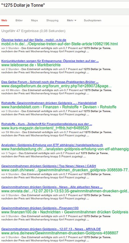 Google-Suchergebnis, das vor allem belegt, dass Qualitätsjournalisten wirklich jeden Schmarrn automatisch und völlig unreflektiert in ihre Websites bringen