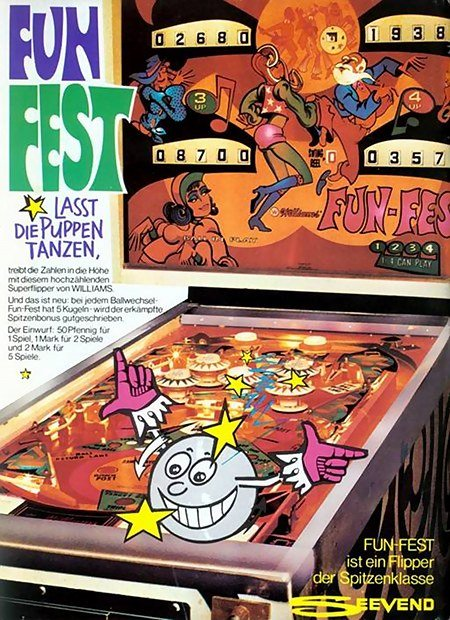 Fun-Fest lässt die Puppen tanzen, treibt die Zahlen in die Höhe mit diesem hochzählenden Superflipper von Williams. Und das ist neu: bei jedem Ballwechsel -- Fun-Fest hat 5 Kugeln -- wird der erkämpfte Spitzenbonus gutgeschrieben. Der Einwurf: 50 Pfennig für 1 Spiel, 1 Mark für 2 Spiele und 2 Mark für 5 Spiele