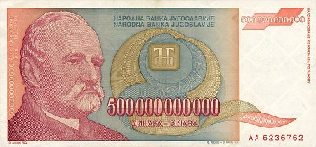 Jugoslawische Banknote aus dem Jahr 1993, 500 Billionen Dinar