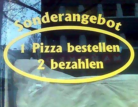 Sonderangebot: 1 Pizza bestellen, 2 bezahlen