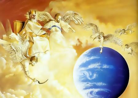 König Christus mit fingerzeigendem Petzengel