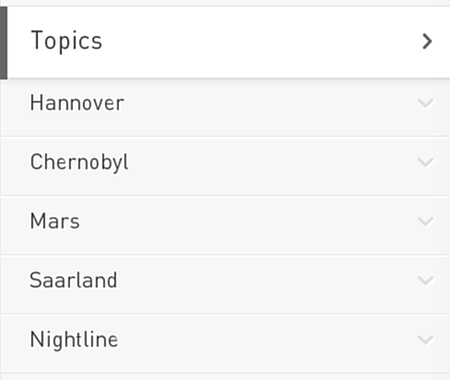 Topics: Hannover, Chernobyl, Mars, Saarland, Nightline