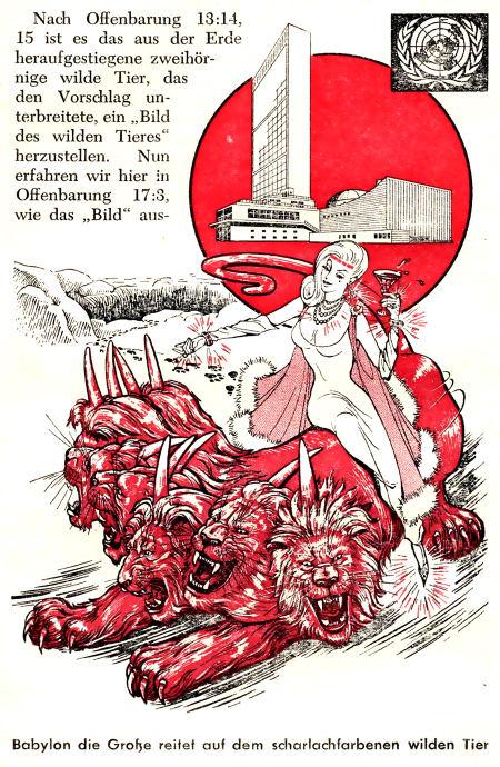 Die Hure Babylon reitet auf dem scharlachroten, wilden Tier...