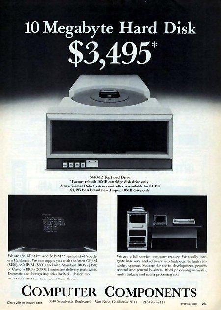 10 Megabyte Hard Disk $3,495