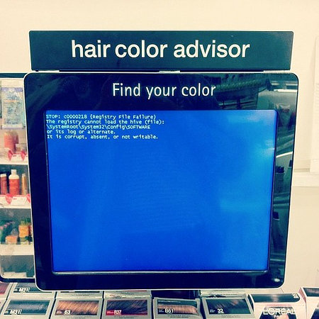 hair color advisor -- find your color -- blue screen of death
