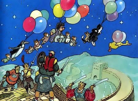 Bild aus 'Mecki'. Die ganze 'Bande' fliegt, getragen von bunten Luftballons, über die chinesische Mauer