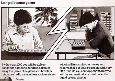 Long distance game -- By the year 2000 you will be able to challange someone hundreds of miles away to a game. The games will contain miniature radio transmitters and receivers which will transmit your moves and receive those of your opponent with very little time delay. Your opponent's moves will be automatically carried out in the liquid crystal display.