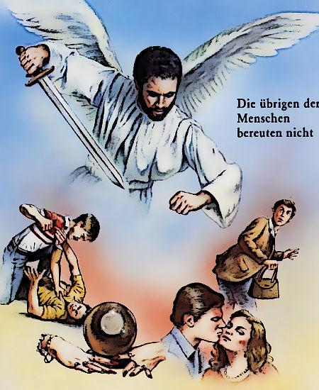 Die übrigen der Menschen bereuten nicht -- Ein Engel schwingt das Schwert über die 'Sünder', auf dass die Angst groß werde