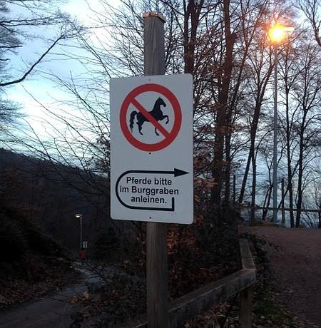 Pferde bitte im Burggraben anleinen.